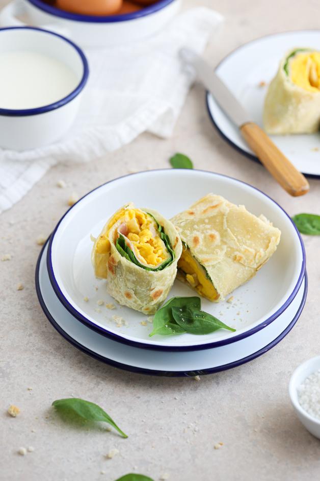 Kamutov burrito z umešanimi jajci Leaneen recept